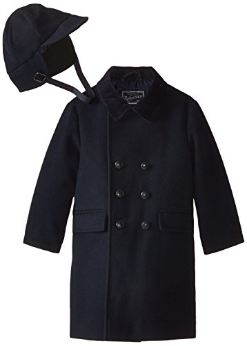 Rothschild Little Boys' Toddler Faux Wool Dressy Coat with Hat, Midnight, ()