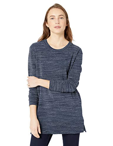 Side Terry - Amazon Brand - Daily Ritual Women's Terry Cotton and Modal Side-Vent Tunic, Navy Space Dye, Small