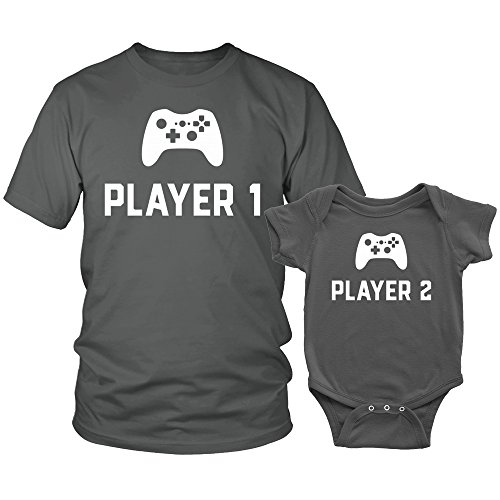 Player One Player Two Shirt and Onesie Matching Set Shirt and Baby Onesie Matching Set - Charcoal - Unisex XL Adult Shirt - 12 Months Onesie