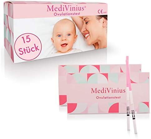 MediVinius Ovulationstest 15 Stück mit schnellem Ergebnis unter 10 Minuten I Zuverlässiger Fruchtbarkeitstest für Frauen I Fertility LH Test