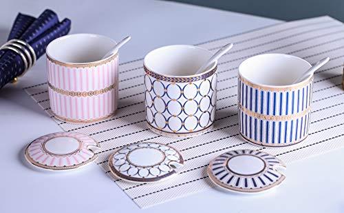 Zuccheriera dispenser sale contenitore ceramica zuccheriera con coperchio e cucchiaio per casa e cucina A righe rosa.