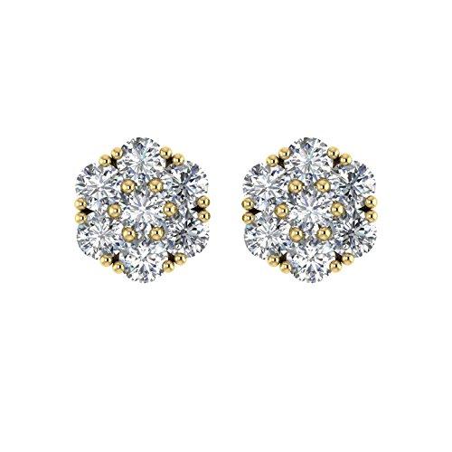 Delight femmes de diamant 18K boucles d'oreille Clous en forme de fleur (I1-I2, 11/4carat)