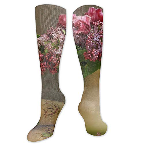 (Compression Socks for Men & Women Lilacs Tulips Flower Vase Petals Napkin Compression Stockings for Runners, Edema)