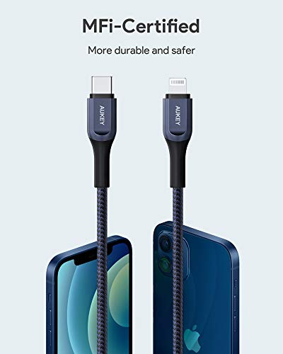 AUKEY USB C to Lightning Cable, Graphene-Enhanced Blue Braided Nylon iPhone Charging Cable, 6.6ft MFi-Certified Fast Charging Cord for iPhone 11 Pro/XS / 8 Plus, iPad, AirPods Pro (Blue)