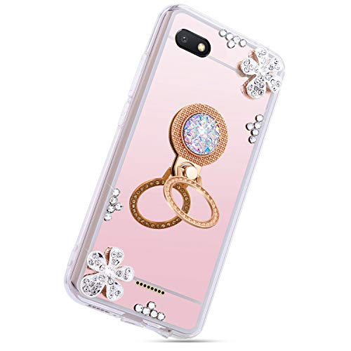 Herbests Compatible with Xiaomi Redmi 6A Case Mirror Crystal Diamond Rhinestone Bling Glitter Flower Soft Clear Silicone Makeup TPU Case Girls Women with Ring Stand Holder,Rose ()