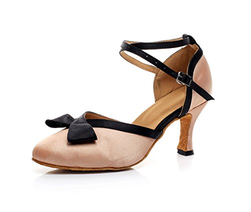 US Girls 5 Party Pumps Tango Bowknot Minishion Evening Dancing Ballroom Salsa Nude Lovely 7 Shoes Latin Satin Women's Wedding 1xxUA5a