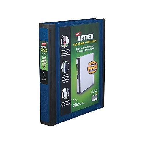 Staples 924443 Better Mini 1-Inch D 3-Ring View Binder Blue (20942) (Binder Staples Mini)