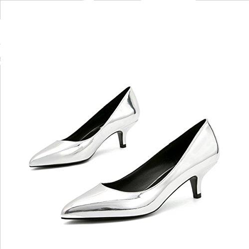 for è Silver Medio di Lavoro con fini con versatile Lavoro Heels Tacco elegante ScarpeLuce calzature Scarpe Wedding Ruanlei donna Eleganti High Scarpe punta e ZzSgnE