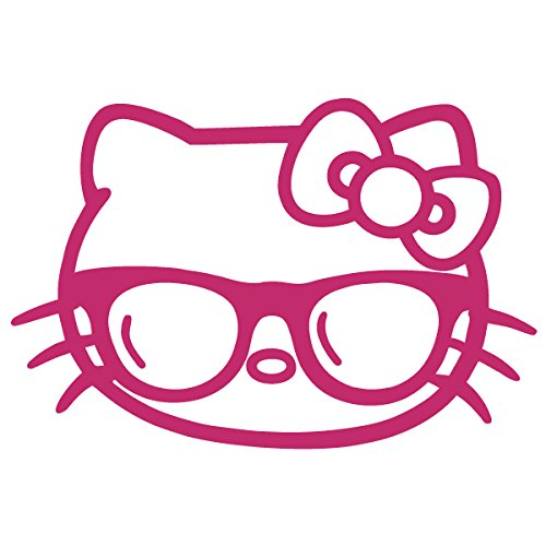 Hello Kitty Fender - Hello Kitty Sunglasses / Vinyl Decal Sticker (HK-16) (5'' x 3.3'', Hot Pink)
