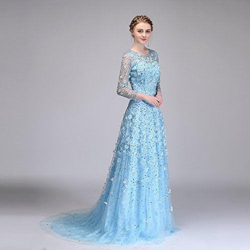 Dentelle De Soirée Gamme De Ciel 14 Fleurs Robe Haut De Parti Sun Bleu Sweep Train Robe Goddess Luxe Formelle Robe Perles Longue 10 SqW44z