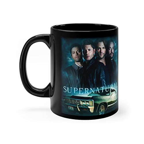Supernatural Forever Dean Sam Castiel and Crowley with Impala -Black 11 oz Coffee Mug Cup