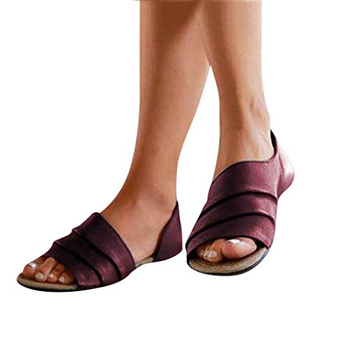 Meigeanfang Fashion Women Flats Casual Summer Shallow Mouth Peep Toe Roman Sandals for Women(Brown,43)