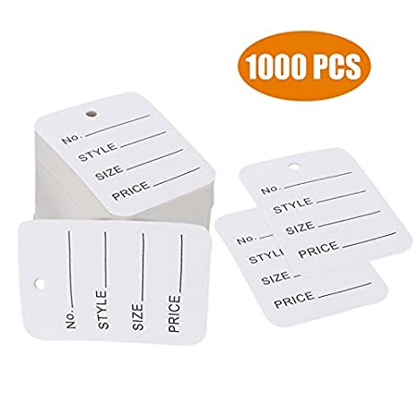 1d40864cb386 1000 PCS Price Tags, Clothes Size Tags Coupon Tags Making Tag White Store  Tags Clothing Tags, 1.94