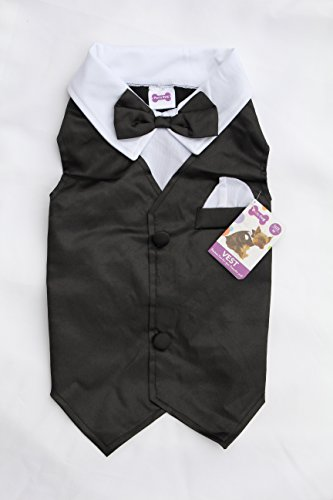 [Dog Tuxedo Vest Wedding Party Outfit Costume for Small and Medium Dogs (Small)] (Pomeranian Costume)