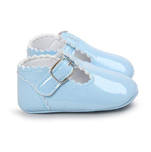Primeros zapatos para caminar,Auxma La princesa del bebé Sola suave calza las zapatillas de deporte del niño Zapatos ocasionales Azul