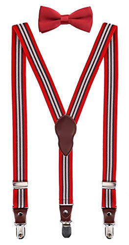 Shark Tooth Teens Bowtie and Suspender for Wedding Red Striped 40
