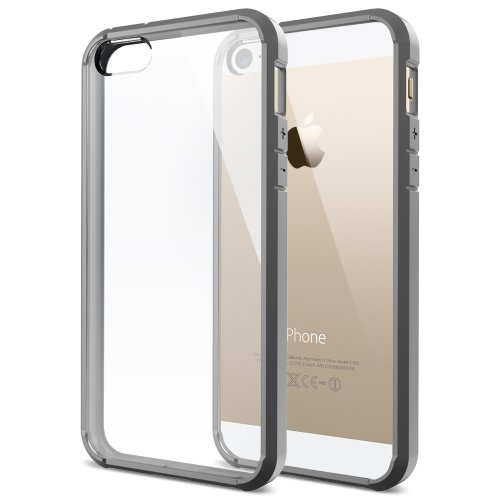 SPIGEN iPhone 5S Case Bumper [Ultra Hybrid] [Gray] Slim Fit Shock Absorption Protective Bumper with CLEAR Back Panel for iPhone 5 - ECO-Friendly Packaging - Gray