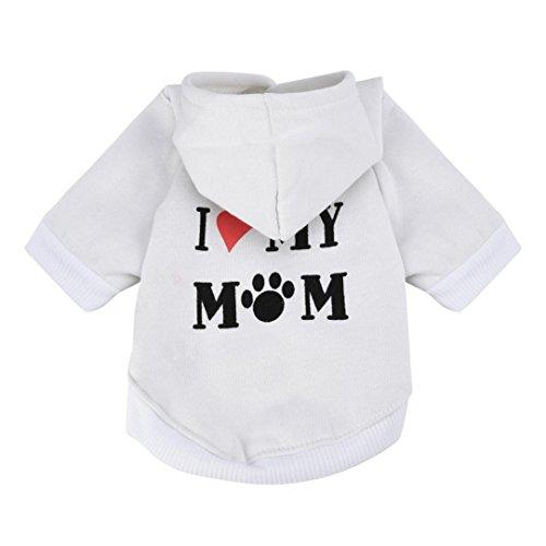 Puppy Hoodie Sweater Dog Coat Warm Sweatshirt Love My Mom Printed Shirt (M, White) ()