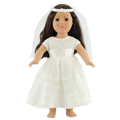 Doll Bride Costume (18 Inch Doll Bridal Gown | Communion Dress or Wedding | Fits 18