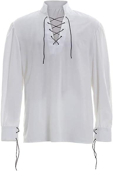 COUCOU Age Camisa Escocesa Hombre Jacobita Ghillie Top Pirata Disfraz Blusa Cuello: Amazon.es: Ropa y accesorios