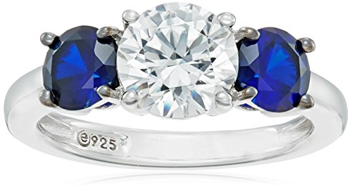 Platinum-Plated-Sterling-Silver-Swarovski-Zirconia-Round-Center-Stone-and-Created-Sapphire-3-Stone-Ring