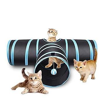 Plegable De 3 Vías Cat Túneles Gato Juego Túnel De Juguete Laberinto Casa De Gato con Pompones Y Campanas para Gato Cachorro Gatito Conejo,Blue: Amazon.es: ...