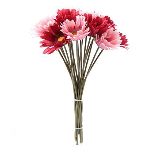 10 PCS Real Touch Latex Silk Artificial fake plastic Daisy Chrysanthemum Flowers Sun Chrysanthemum,Sunflower, Simulation Gerber, Dimorphotheca,Party Room home Decoration DIY Flower Bouquet (pink) (Daisy Gerber Pink Wedding)
