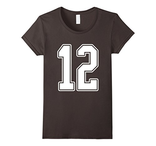 Hockey Fan Costume Ideas (Womens #12 White Outline Number 12 Sports Fan Jersey Style T-Shirt Medium Asphalt)