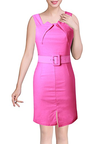 Stretchy Front K Allegra Sleeveless Dresses Neck Asymmetric Fuchsia Ladies Strap Split TC60w6Yq