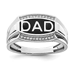 925 Sterling Silver Diamond Men's Dad Band Gift Ring.