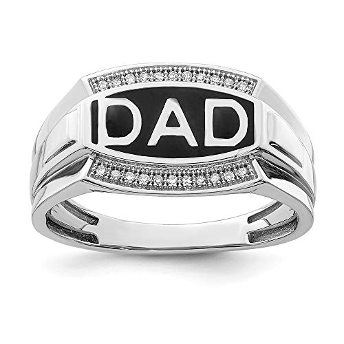 - 925 Sterling Silver Diamond Mens Dad Band Ring Size 11.00 Man Fine Jewelry Gift For Dad Mens For Him