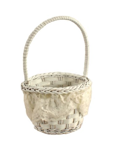 Painted Wicker Basket with Lace Wedding Party Favors Easter Decoration 2pcs/pkg White