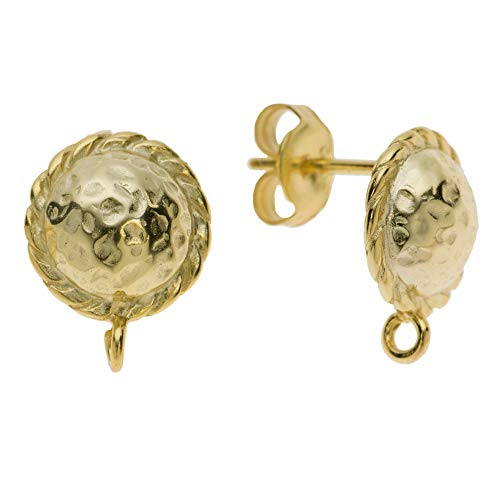 Dreambell 2 pcs 14K Gold on .925 Sterling Silver 9.5mm Sunflower Hammered Round Shield Stud Earring Connector Loop Post/Findings/Yellow Gold ()