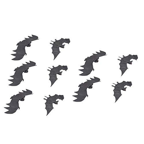 Scary Hanging Animal Props, 3D DIY Halloween Rubber Realistic Bat, Halloween Party Supplies for Home Window Wall Decoration 10Pcs Party Decorations]()