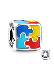 Soufeel Colorful Puzzle Charm Autism Awareness Charm 925 Sterling Silver Romantic Gifts for Mom,Wife,Daughter,Friends on Birthday,Mother's Day and Christmas Day