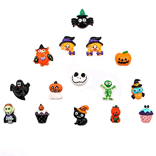 Buorsa 20 Pcs Mixed Halloween Resin Flatback Craft Slime Charms Resin Flatback of Slime Beads for Craft Making DIY Decoration Scrapbooking Craft Accessory ()