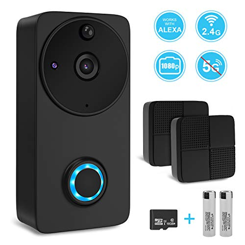 Vancle Wireless Doorbell Smart Video Door Bell 1080P HD Security WiFi Camera Doorbell, Night Vision, Two-Way Talk, PIR Motion Detection with Cloud Storage for iOS & Android, Compatible with Alexa