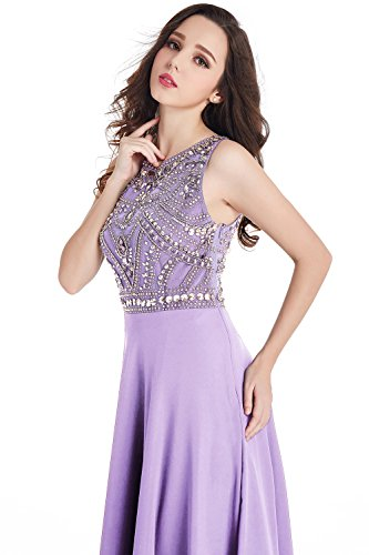 Damen Chiffon Lang Ballkleider Abendkleider Abikleider MisShow Lang Lilac Ärmellos 2017 dwpXWqP