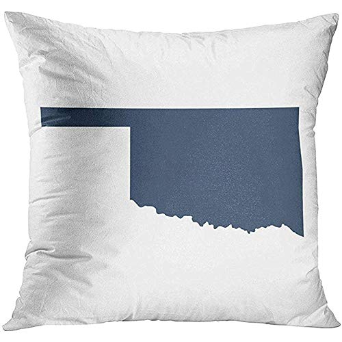 Throw Pillow Cover Gray Shape Map of The U State Oklahoma Abstract America Decorative Pillow Case Home Decor Square 18x18 Inches Pillowcase