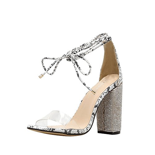 VEMOW High Heels for Women, for Work Utility Footwear Gladiator Closed Toe Platform Sparkly Roman Sandals Party Club Office Court Shoes, Cross Tied Transparent Crystal Square Camouflage