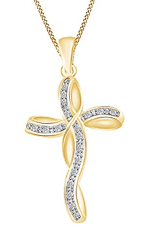rconia 14k Gold Over Sterling Silver Cross Pendant with Chain (0.38 Ct) (18kt Over Sterling Silver Cross)