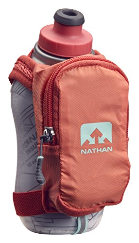 Nathan NS4858 Speedshot Plus Quick Grip 12 oz Insulated Running Water Bottle Flask with Zip Pocket, Fusion Coral