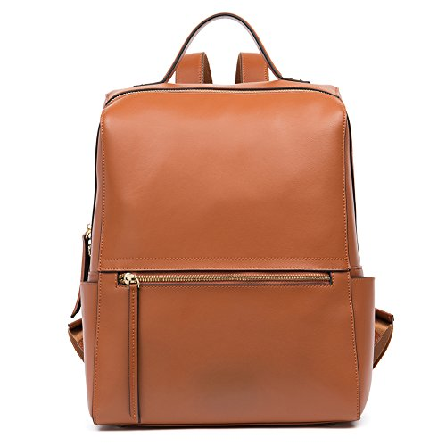 FIGESTIN Women Genuine Leather Backpack Casual Satchel Shoulder School Bags Purse for College
