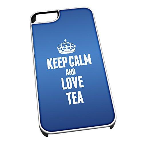 Bianco cover per iPhone 5/5S, blu 1604Keep Calm and Love Tea