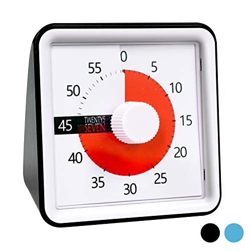 Countdown Timer 3 inch; 60 Minute 1 hour Visual Timer - Classroom Teaching Tool Office Meeting, Countdown Clock for Kids Exam Time Management -Black ()