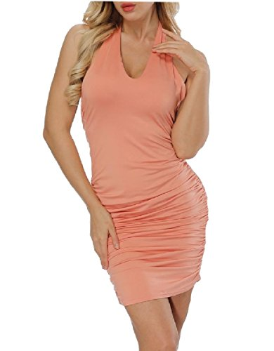 Backless Sexy Pure Women Coolred Color Dress Business Nightclub Halter Pink UIUftxY