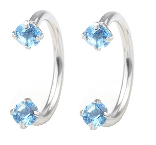 DU 16G 8mm Horseshoe Lip ring 3mm Cubic Zirconia Inlaid nose ring piercing labret studs nose jewelry ()