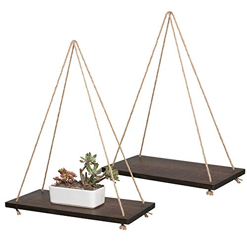 YXMYH Decorative Wall Hanging Shelf, Distressed Wood Hanging Swing Rope Floating Shelves, Set of 2, Brown