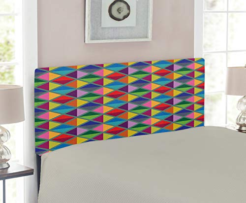 Lunarable Geometric Headboard for Twin Size Bed, Argyle Pattern in Vibrant Colors Triangles and Rhombuses Artistic Design Print, Upholstered Decorative Metal Headboard with Memory Foam, Multicolor ()