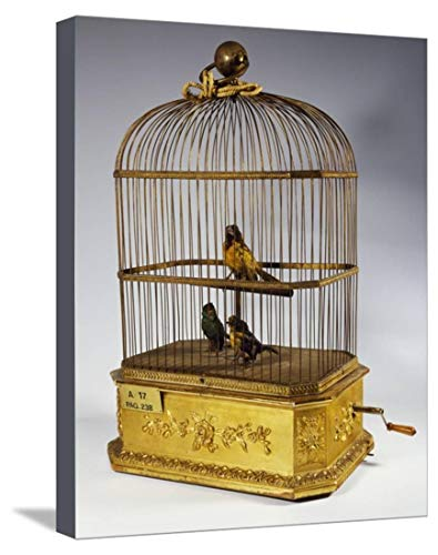 ArtEdge Music Box with Singing Birds in Cage, Stretched Canvas Print, 15 x 19 in